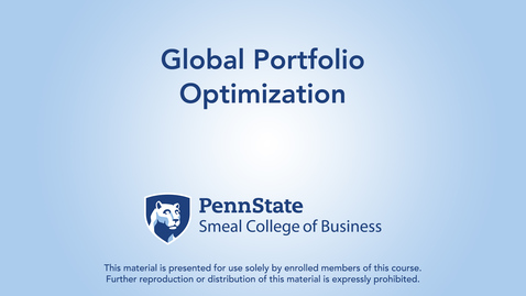 Thumbnail for entry Topic 24 - Section 5 Global Portfolio Optimization