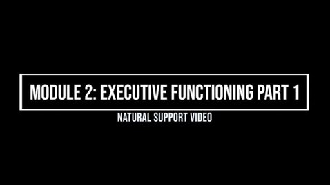 Thumbnail for entry Module 2: Executive Functioning Part 1 - Natural Supporter