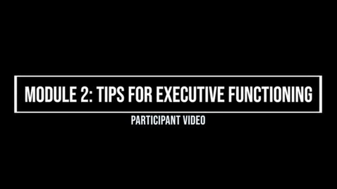 Thumbnail for entry Module 2: Tips for Executive Functioning - Participant