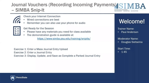 Thumbnail for entry SIMBA Snip-it: Journal Vouchers Recording Incoming Payments Overview