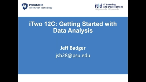 Thumbnail for entry Two 12C: Getting Started with Data Analysis