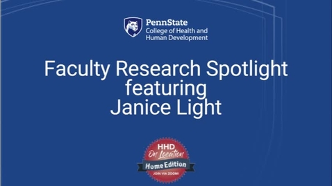 Thumbnail for entry Faculty Research Spotlight featuring Janice Light