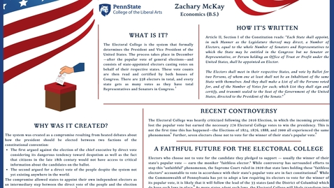 Thumbnail for entry Zachary McKay: The Electoral College: Why We're Here and Where We're Going