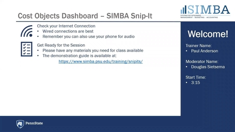 Thumbnail for entry SIMBA Snip-it: Cost Objects Dashboard Overview