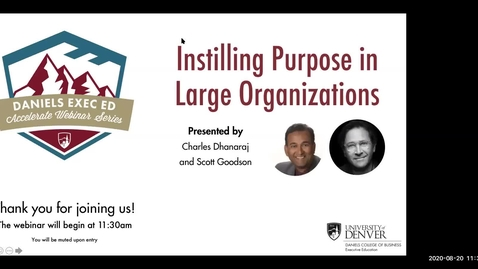 Thumbnail for entry Accelerate Webinar Series: Instilling Purpose in Large Organizations
