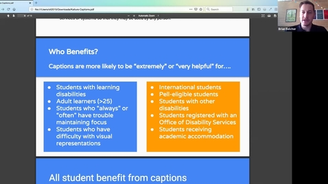 Thumbnail for entry Video Captioning Webinar - Improving accessibility for all your students Mar 7, 2019