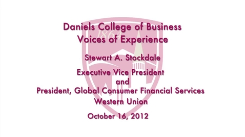 Thumbnail for entry Voices of Experience: Stewart A. Stockdale from Western Union