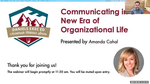 Thumbnail for entry Accelerate Webinar Series: Communicating in a New Era of Organizational Life