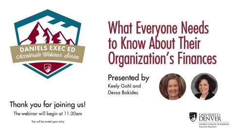 Thumbnail for entry Accelerate Webinar Series: What Everyone Needs to Know About Their Organization's Finances