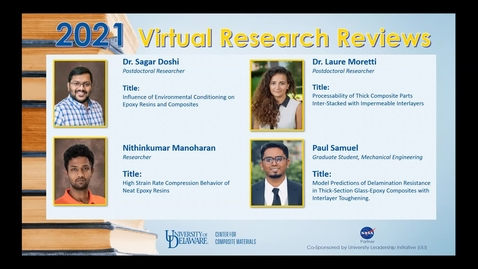 Thumbnail for entry 2021 Virtual Research Reviews - Environmental Durability and Role of Thermoplastic Interlayer in Composites used in Ground Vehicles