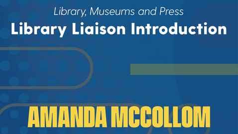 Thumbnail for entry Amanda McCollom Introduction