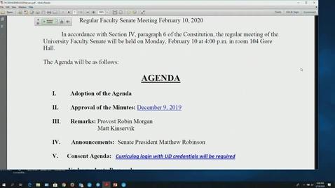 Thumbnail for entry Faculty Senate Meeting Feb 10th 2020