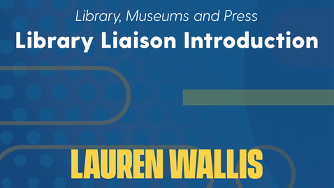 Thumbnail for entry Lauren Wallis Introduction