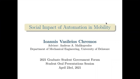 Thumbnail for entry 1A: Social Impact of Connectivity and Automation in Mobility, Ioannis Chremos