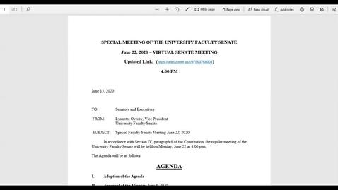 Thumbnail for entry Faculty Senate June 22 2020