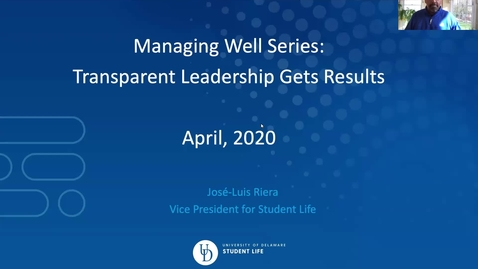 Thumbnail for entry Managing Well: Transparent Leadership Get Results