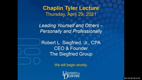 Thumbnail for entry Leading Yourself and Others – Personally and Professionally | Tyler Lecture April 2021