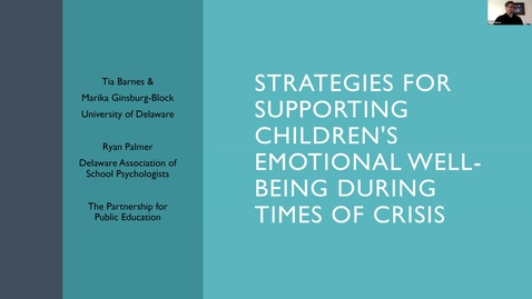 Thumbnail for entry Strategies for Supporting Children's Emotional Well-Being
