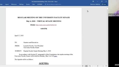 Thumbnail for entry Faculty Senate Meetings - May 4, 2020