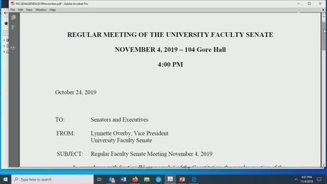Thumbnail for entry Faculty Senate Meeting Nov 4th 2019