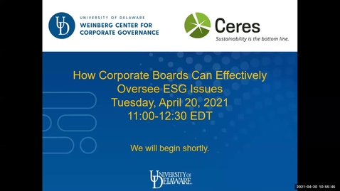 Thumbnail for entry How Corporate Boards Can Effectively Oversee ESG Issues -4/20/2021