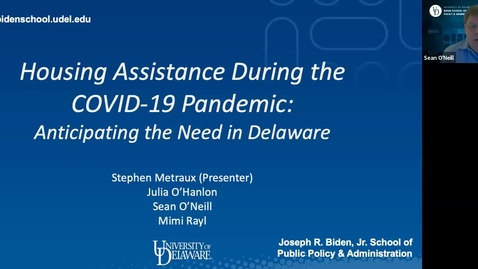 Thumbnail for entry Housing Assistance Amidst the COVID-19 Pandemic: Anticipating the Need in Delaware