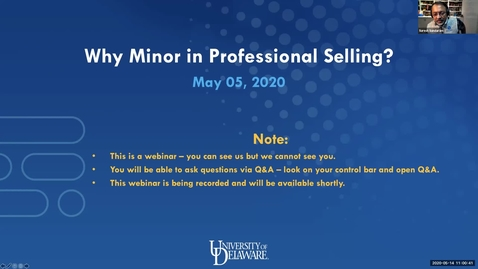 Thumbnail for entry Why Choose a Minor in Professional Selling Webinar 5.14.2020edit