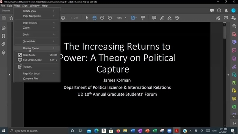 Thumbnail for entry The Increasing Returns to Power -- A Theory On Political Capture , James Korman