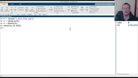 Thumbnail for entry Using live scripts in MATLAB