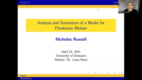 Thumbnail for entry Analysis and Simulation of a Novel Run-and-Tumble Model with Autochemotaxis, Nicholas Russell