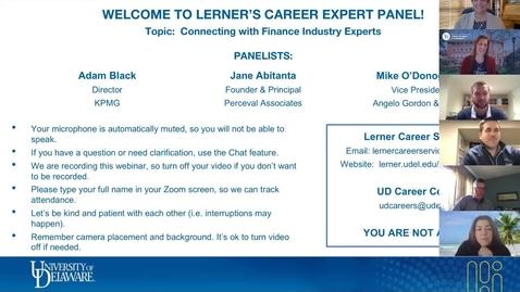 Thumbnail for entry Career Expert Panel - Finance Industry