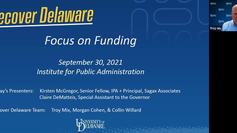 Thumbnail for entry Recover Delaware: Focus on Funding