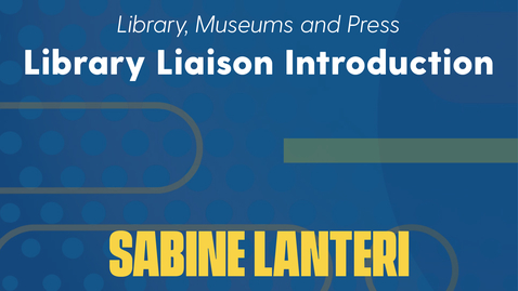 Thumbnail for entry Sabine Lanteri Introduction