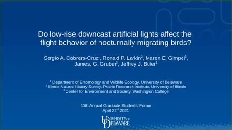 Thumbnail for entry Do ground-based, downward-facing artificial lights affect the flight behavior of nocturnally migrating birds?, Sergio Cabrera-Cruz