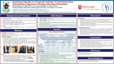 Thumbnail for entry Quadriceps Strength is a Prognostic Indicator of Contralateral Knee Osteoarthritis Progression Following Total Knee Arthroplasty, Moiyad Aljehani