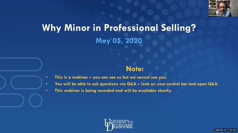 Thumbnail for entry Why Choose a Minor in Professional Selling Webinar 5.14.2020