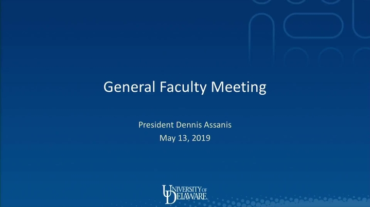 Thumbnail for channel Faculty Senate Meetings 2018 - 2019
