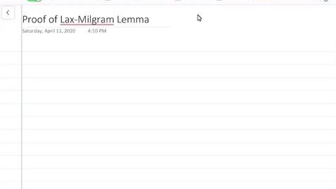 Thumbnail for entry Proof of the Lax-Milgram Lemma
