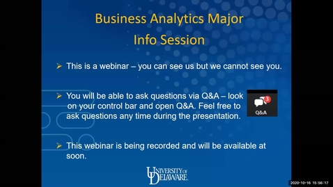 Thumbnail for entry Business Analytics Major Info Session