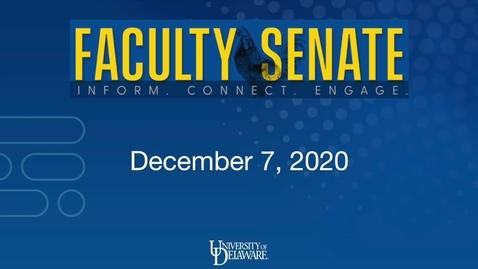 Thumbnail for entry Faculty Senate  Dec 7 2020