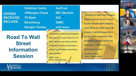 Thumbnail for entry Road to Wall Street Info Session