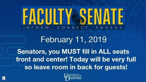 Thumbnail for entry Faculty Senate Meeting Feb 11 2019