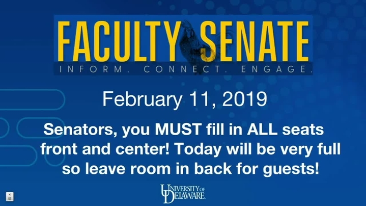 Thumbnail for channel Faculty Senate Meetings 2019 - 2020