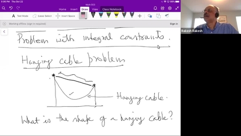 Thumbnail for entry Integral constraints - the theorem, solution of hanging cable problem