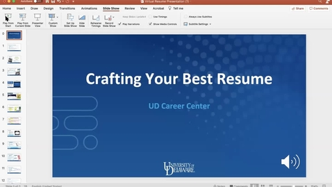 Thumbnail for entry Virtual Career Center Intro & Resume Writing Presentation