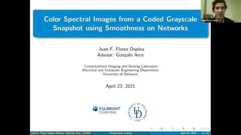 Thumbnail for entry 1B: Color spectral images from a coded grayscale snapshot using their underlying network structure, Juan F. Florez-Ospina