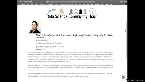 Thumbnail for entry Data Science Community Hour (March 4th, 2021): Meet a Data Scientist (Dr. Rosha Pokharel) & Julia Lightning Talks