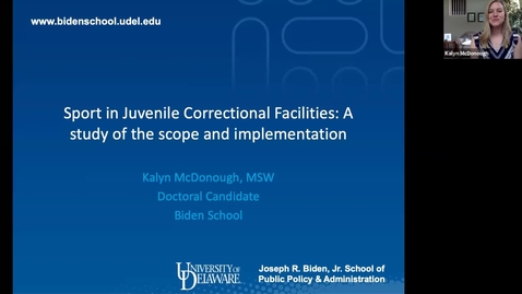 Thumbnail for entry Sport in Juvenile Correctional Facilities: A mixed methods study of the scope and implementation, Kalyn McDonough
