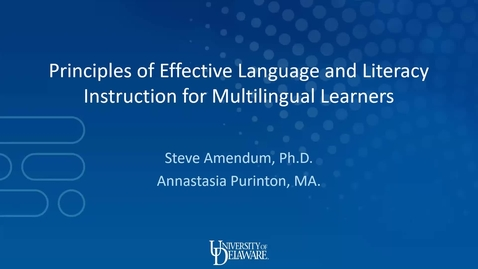 Thumbnail for entry Principles of Effective Language and Literacy Instruction for Multilingual Learners