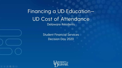 Thumbnail for entry Financing a UD Education - UD Cost of Attendance (Delaware Residents)